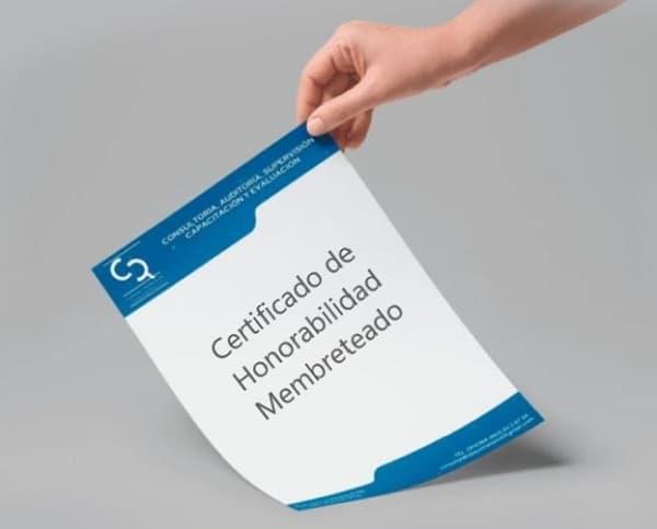 Certificad de honorabilidad membreteado