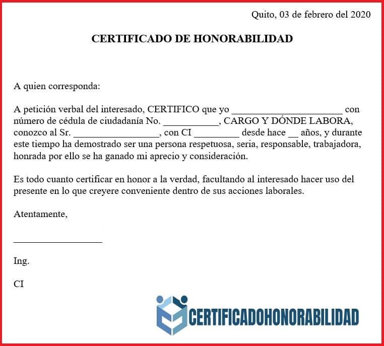 Certificado de honorabilidad para estudiantes