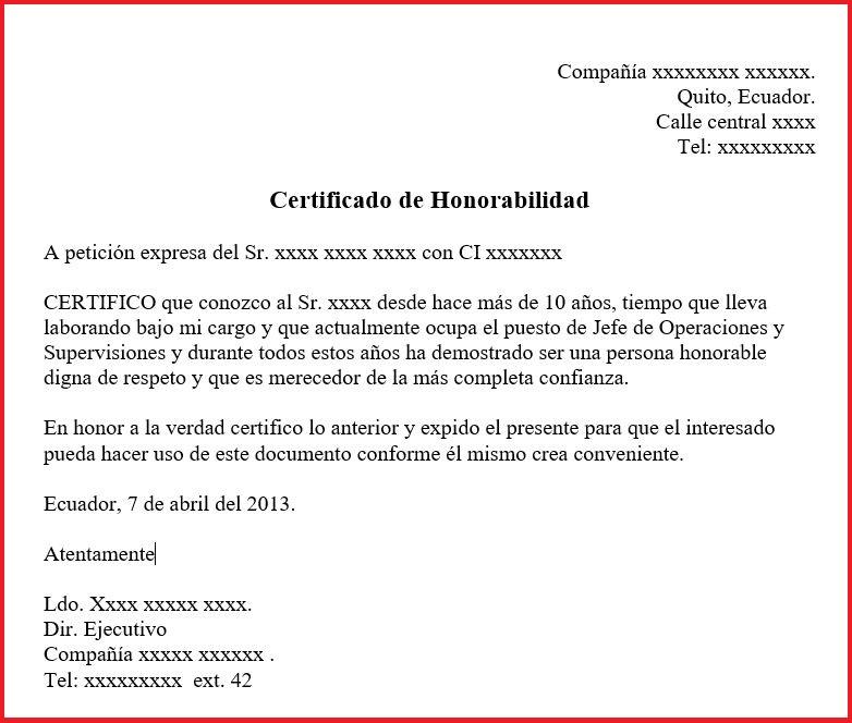 Certificado de honorabilidad para una empresa