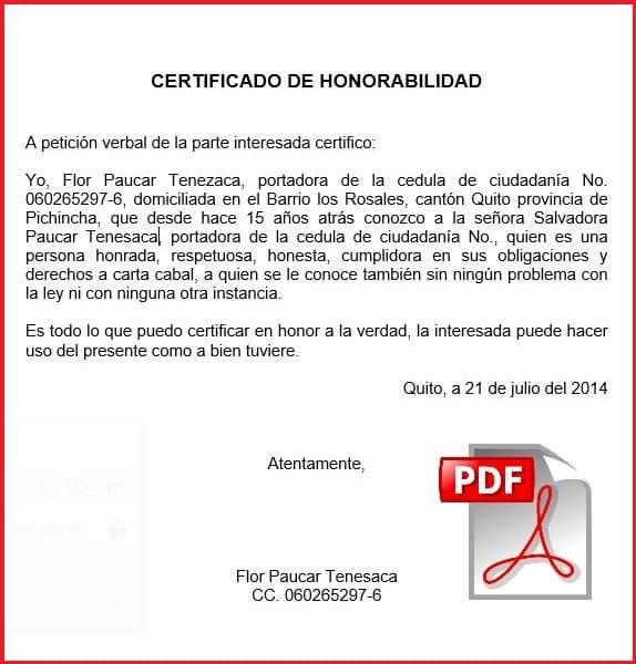 Ejemplo de certificado de honorabilidad en pdf