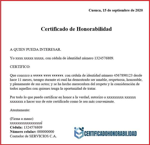 certificado de honorabilidad ministerio del interior