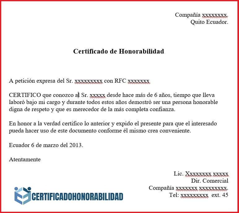 certificado de honorabilidad para trabajo
