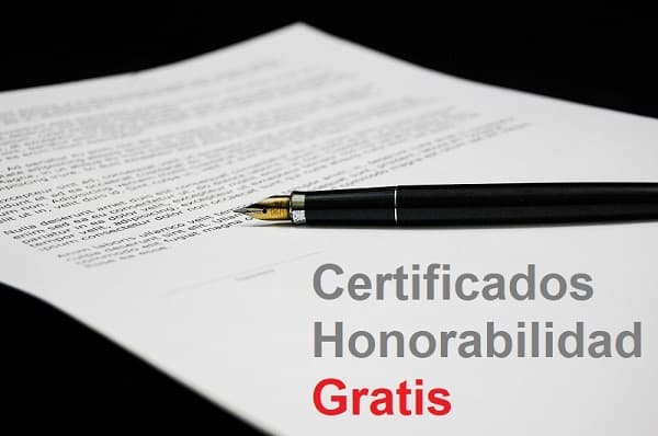 Certificados de honorabilidad Gratis