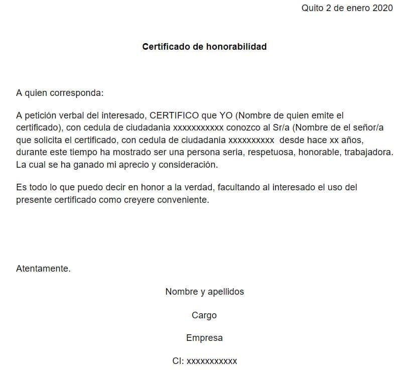 ejemplo de certificado honorabilidad