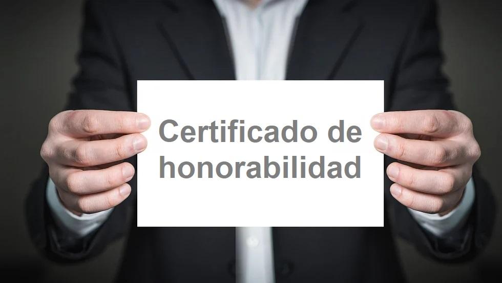 informe de certificado de honorabilidad