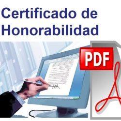 Certificad de honorabilidad en PDF